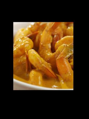 Salade gambas au curry
